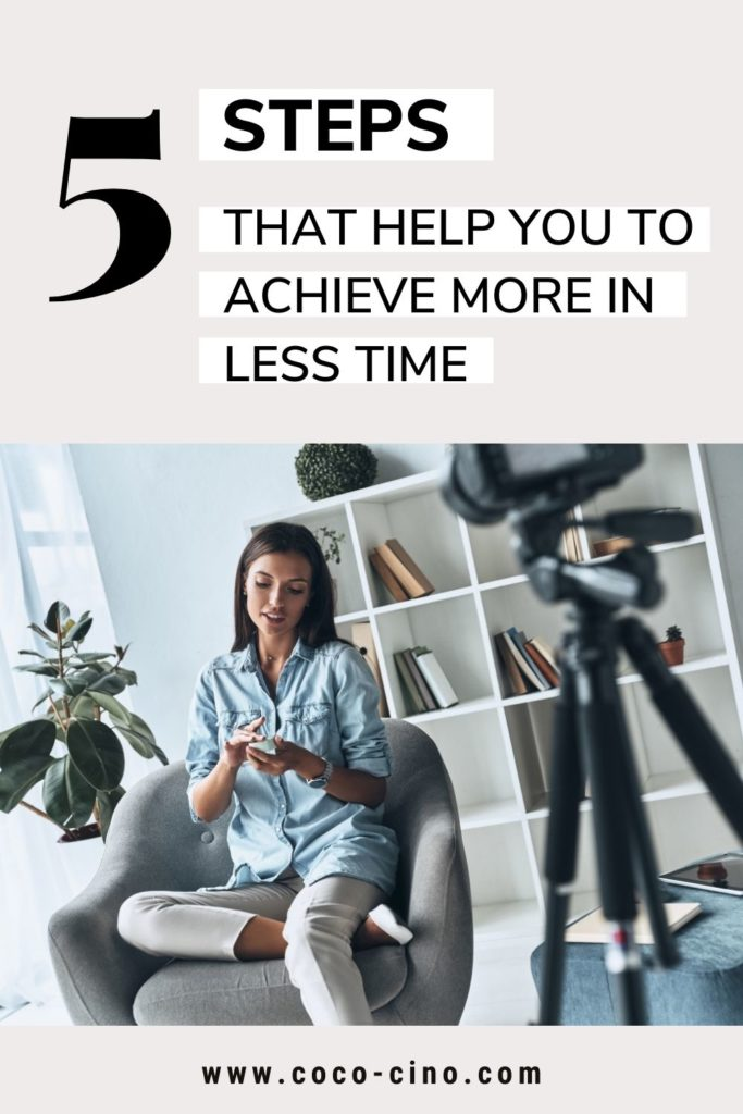 Achieve more in less time_woman on arm chair in front of a camera