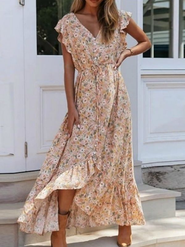 Maxi Dresses_girl in a Maxi Dress with flounces and floral print_orange and rose