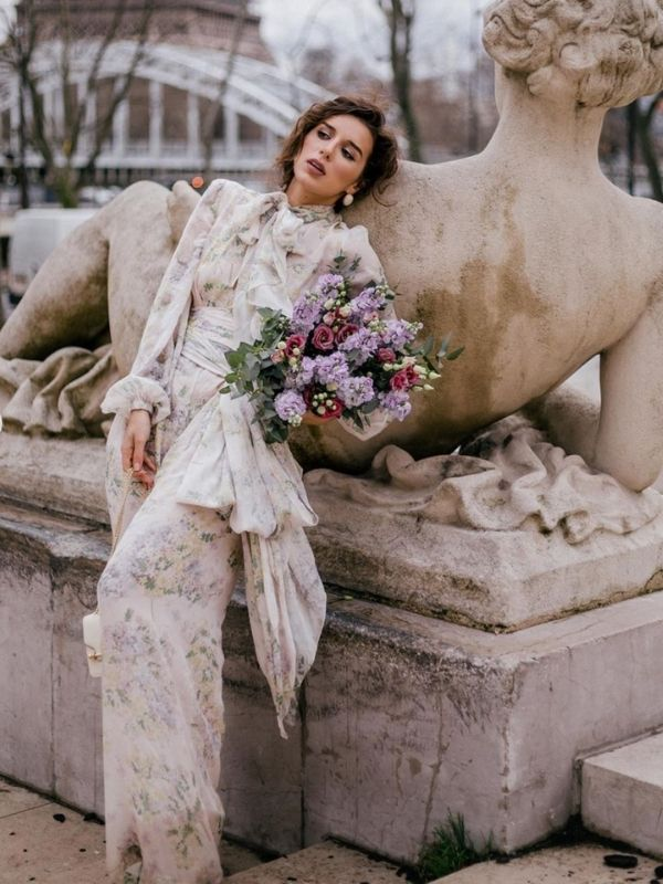 Maxi Dresses_girl in a Paris Chic Dress with long sleeves and floral print_rose