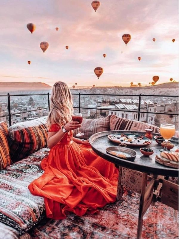 Girl in Red Chiffon Maxi Dress in Turkey