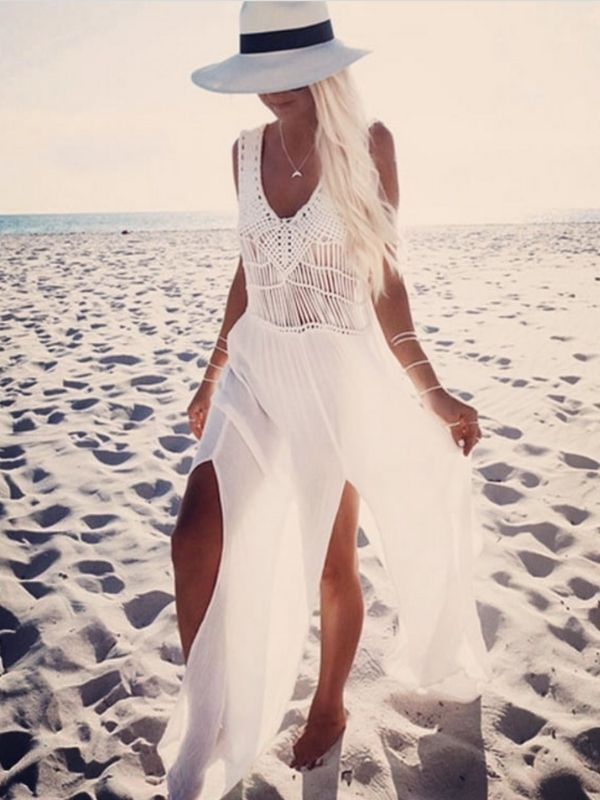 Girl at the beach in a White Chiffon Maxi Dress