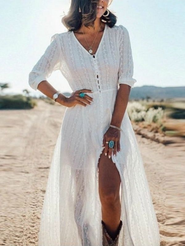 Maxi Dresses_Girl in a long white dress_Boho Dress with buttons
