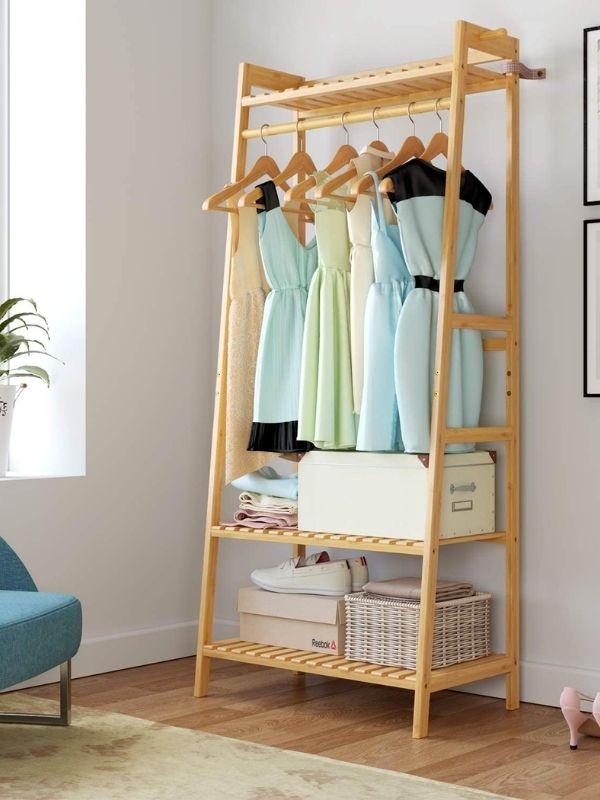 Clothing Rack_Bamboo Clothing Rack with Multiple Shelves