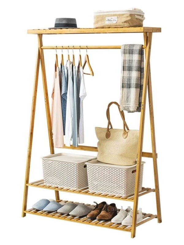 Clothing Rack_Bamboo Garment Rack with two Wood Shelves