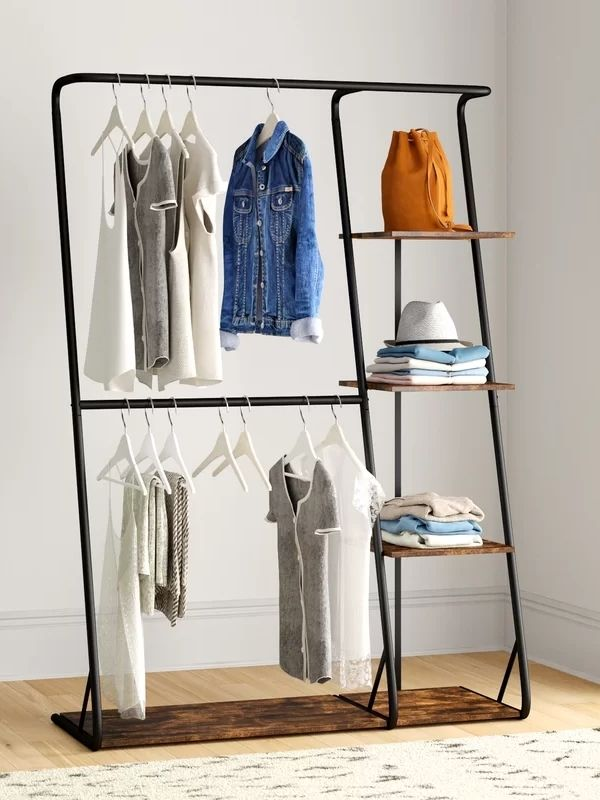 Clothing Rack_Double z-Frame_Wood and black Metal
