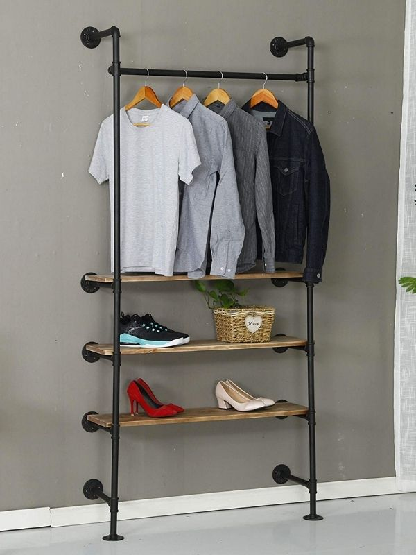 34 functional & stylish clothes racks_Industrial Pipe Clothing Rack_black_wall mounted_with Shelves