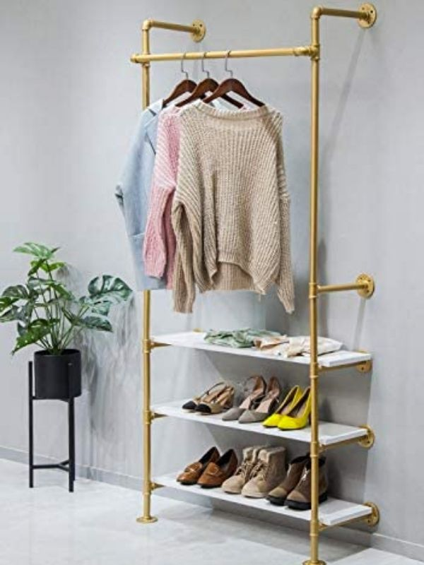Clothing Rack_Industrial Pipe Clothing Rack_golden_wall mounted_with Shelves