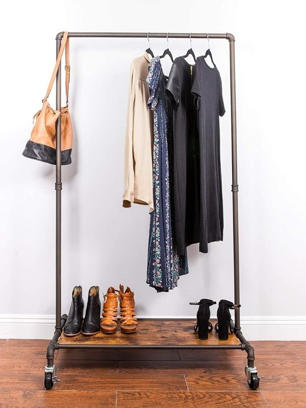 34 functional & stylish clothes racks_Industrial Pipe Clothing Rack_modern industial Style_movable