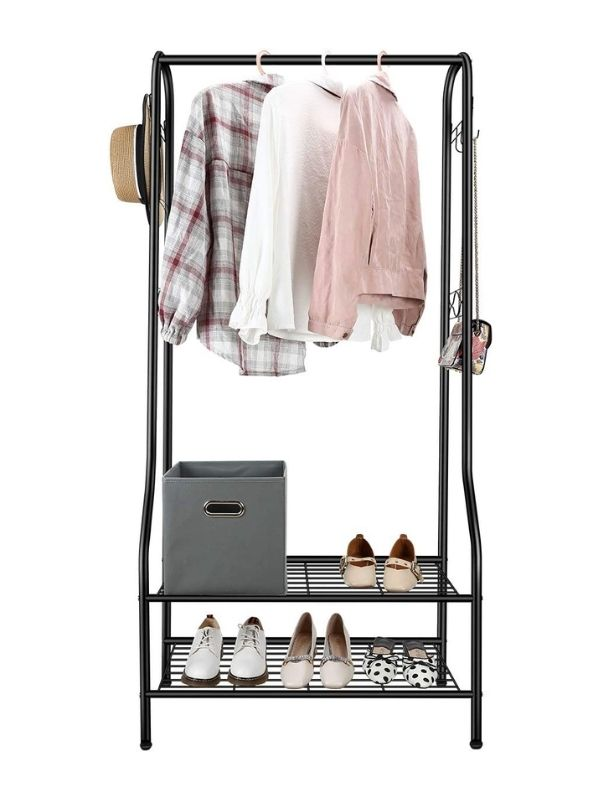 Clothing Rack_Simple Garment Rack with two Shoe Shelves_black