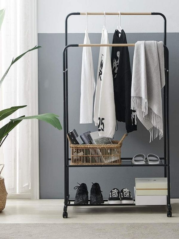 34 functional & stylish clothes racks_Simple two in one Clothing Rack_Minimalist_black metal_wood