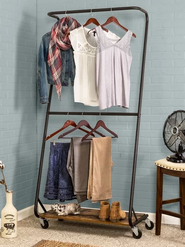 34 functional & stylish clothes racks_z-Frame_Wood and black Metal_movable