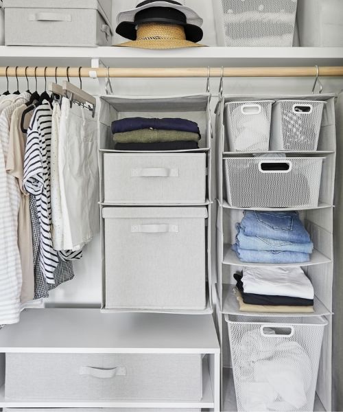 Inspirations & Storage Essentials_Organised Wardrobe_Hanging Compartments_white
