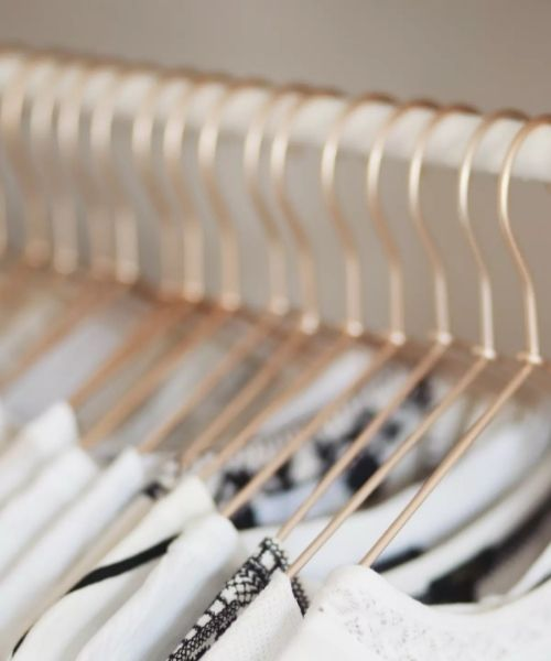 Inspirations & Storage Essentials for an organised and stylish wardrobe_Dressing Area_same golden Hangers
