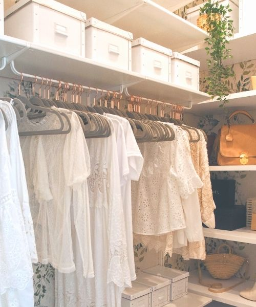 Inspirations & Storage Essentials for an organised and stylish wardrobe_Dressing Area_same grey rose golden Hangers and storage boxes