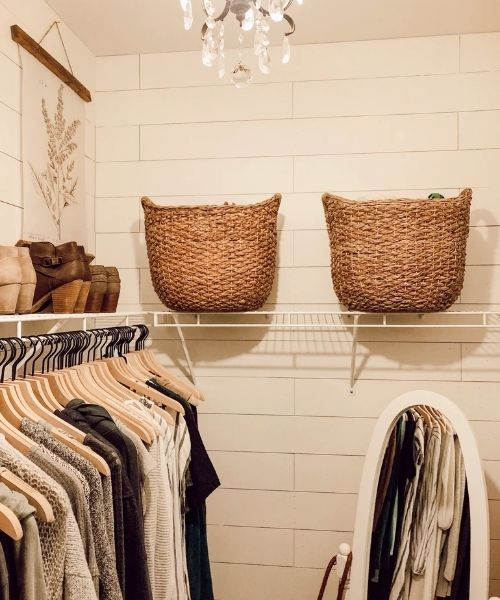 Inspirations & Storage Essentials for an organised and stylish wardrobe_Dressing Area_same wooden Hangers and storage baskets