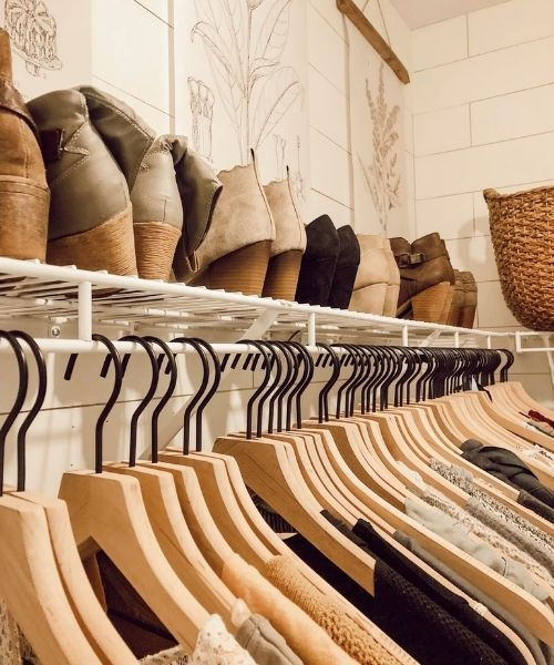 Inspirations & Storage Essentials for an organised and stylish wardrobe_Dressing Area_same wooden Hangers