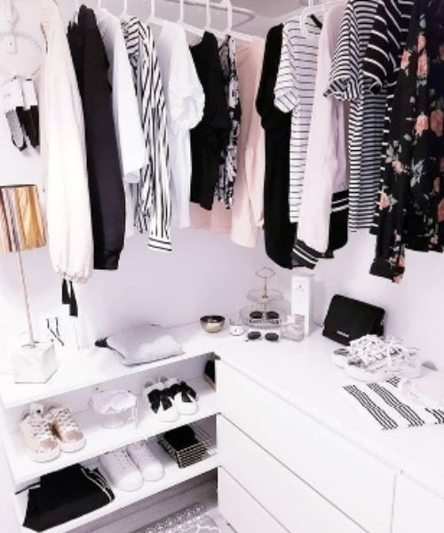 Inspirations & Storage Essentials for an organised and stylish wardrobe_Dressing Area_white_black_rose