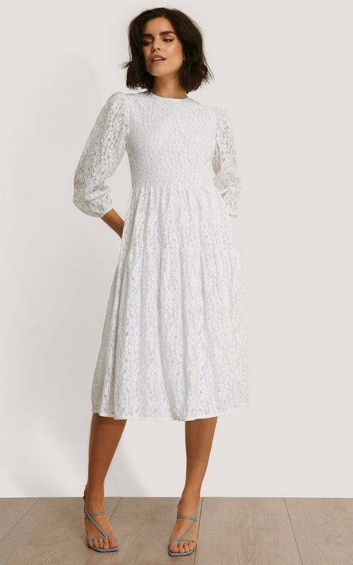 Beautiful dresses_Summer Dresses_White Knee-long Dress with long Sleeves