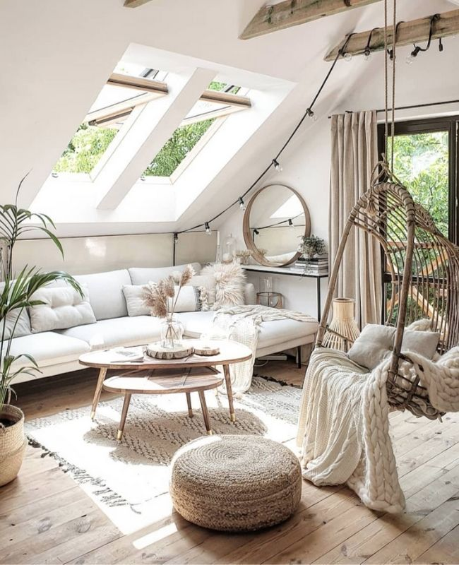 Boho Interior_Boho Decoration_Cozy Decoration_White and Beige_Living Room_Boho Swing and White Couch