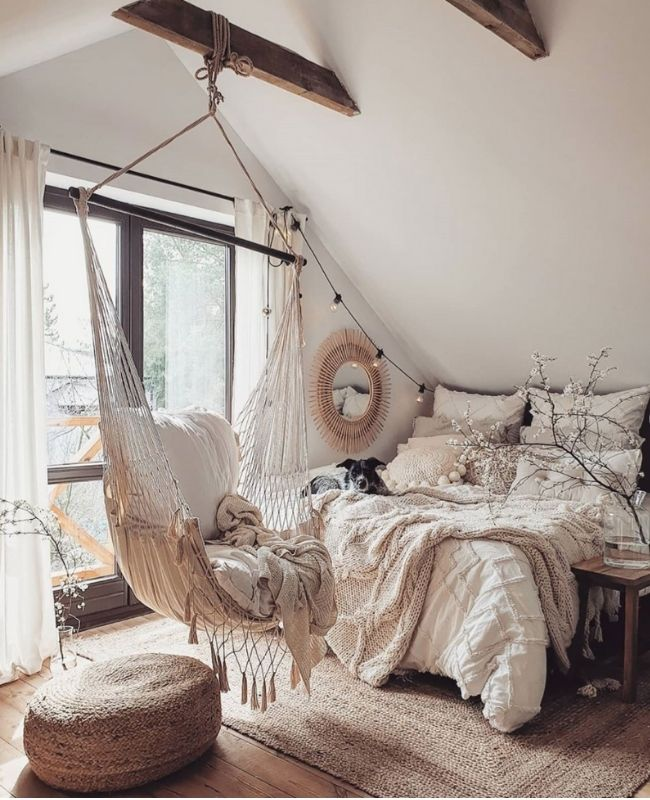 Boho Interior_Boho Decoration_Cozy Decoration_White and Beige_Sleeping Room_Boho Swing and Cozy Bed
