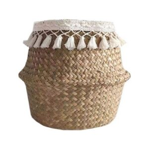 Boho Basket_natural brown with white fringes