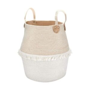 Boho Basket_white and light brown and beige with white fringes