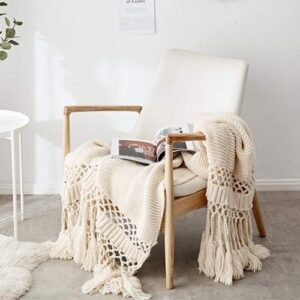Boho Blanket with large meshes_beige