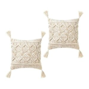 Boho Pillow with Fringes_soft_beige.Set of two Pillows