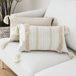 Boho Pillow with Fringes_soft_white_beige_Set of two Pillows
