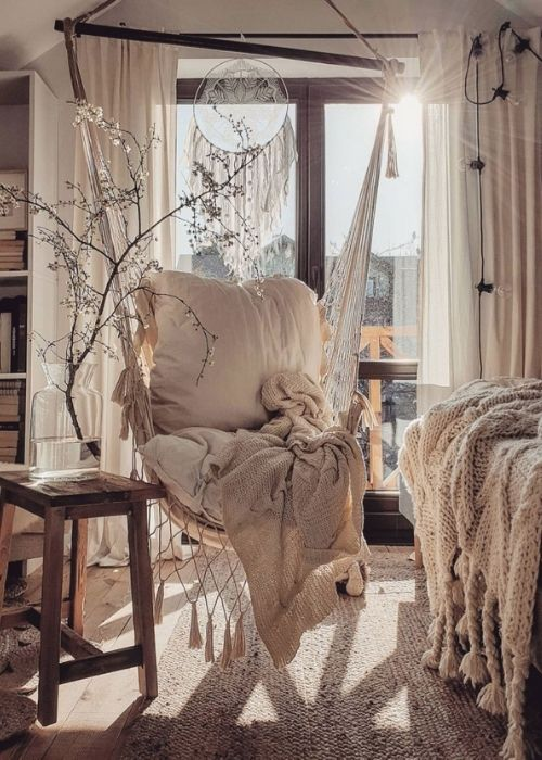 Boho Decoration_Natural Decoration_Boho Swing with Pillows and Blanket