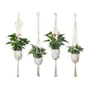 Boho hanging basket_braided_white_set of four different baskets