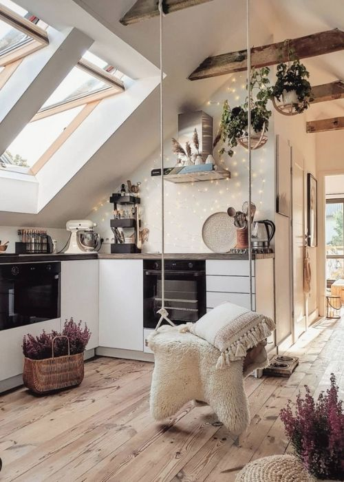 Boho Decoration_Natural Decoration_White small Kitchen with Swing
