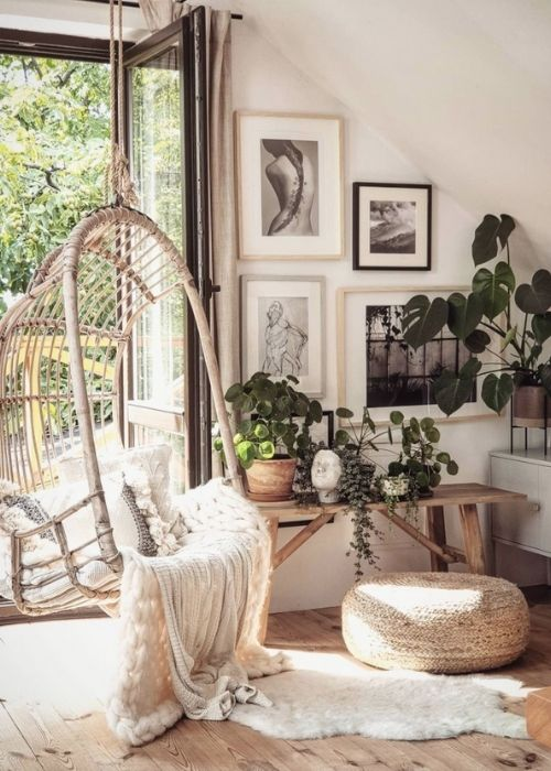 Boho Decoration_Natural Decoration_Reading Corner with Swing Chair