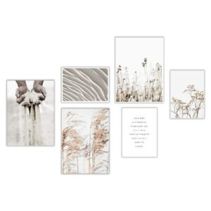 Picture Wall_beige and grey_light colors_Six Natural Pictures in Frames_different sizes