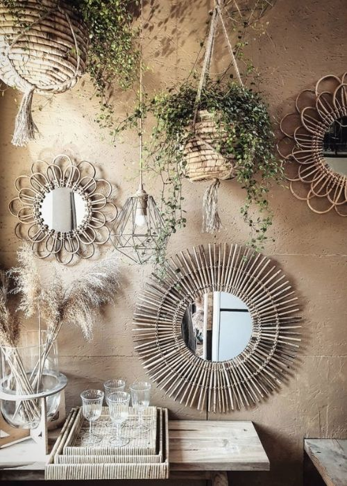 Boho Decoration_Natural Decoration_Wall Decoration with Plants and Mirrors