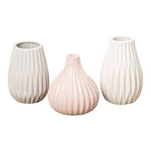 vases_set of three different sizes and shapes_white_beige_rose_striped relief
