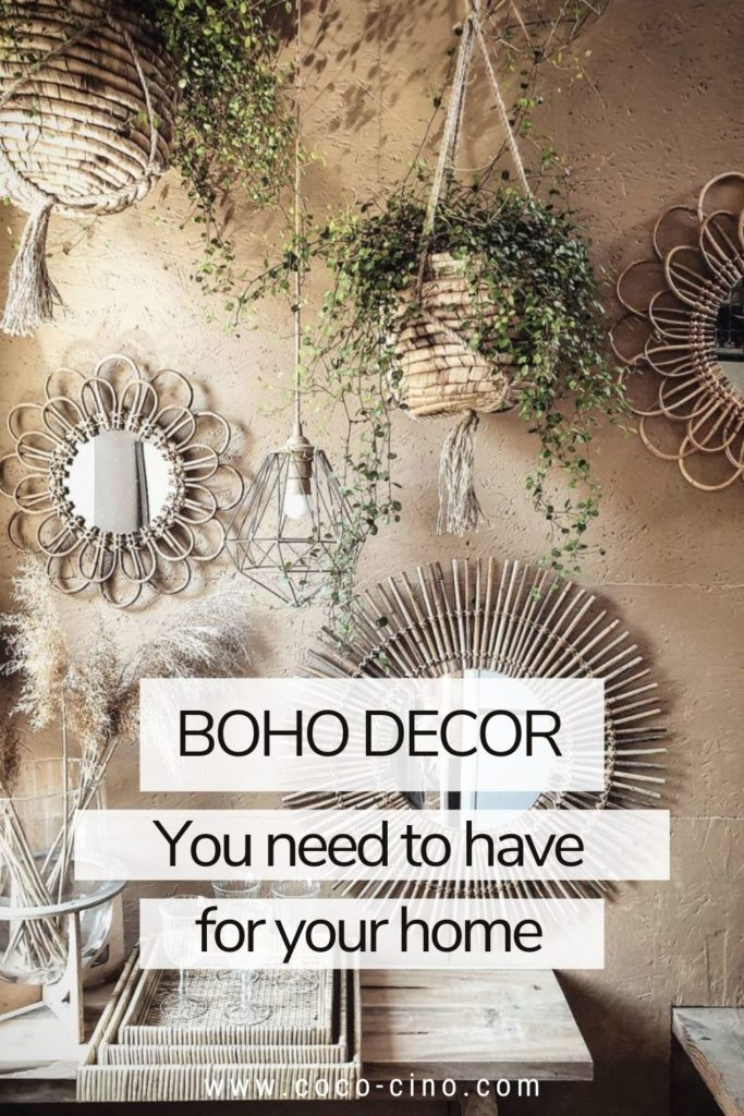 Boho Decoration_hanging plants and mirrors