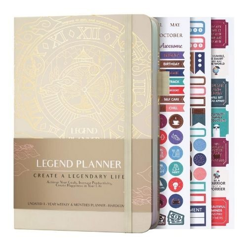 Productivity Planner_Legend Planner Weekly in gold_with stickers