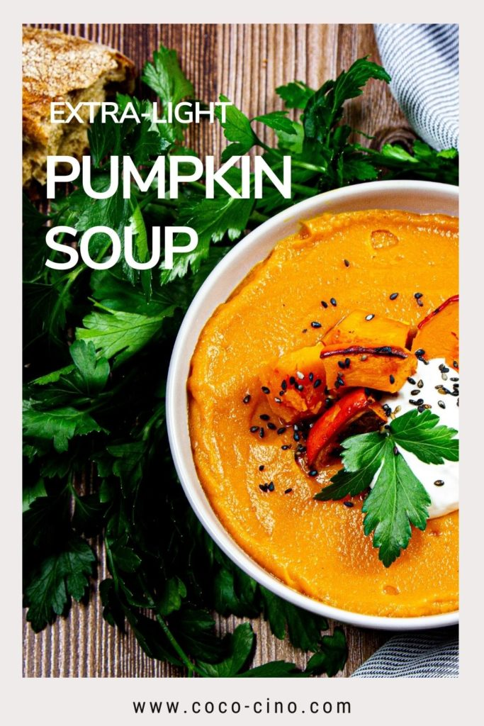 Coco-Cino_Flatlay_Extra-Light Pumpkin soup with garnish, seeds, bread and coriander