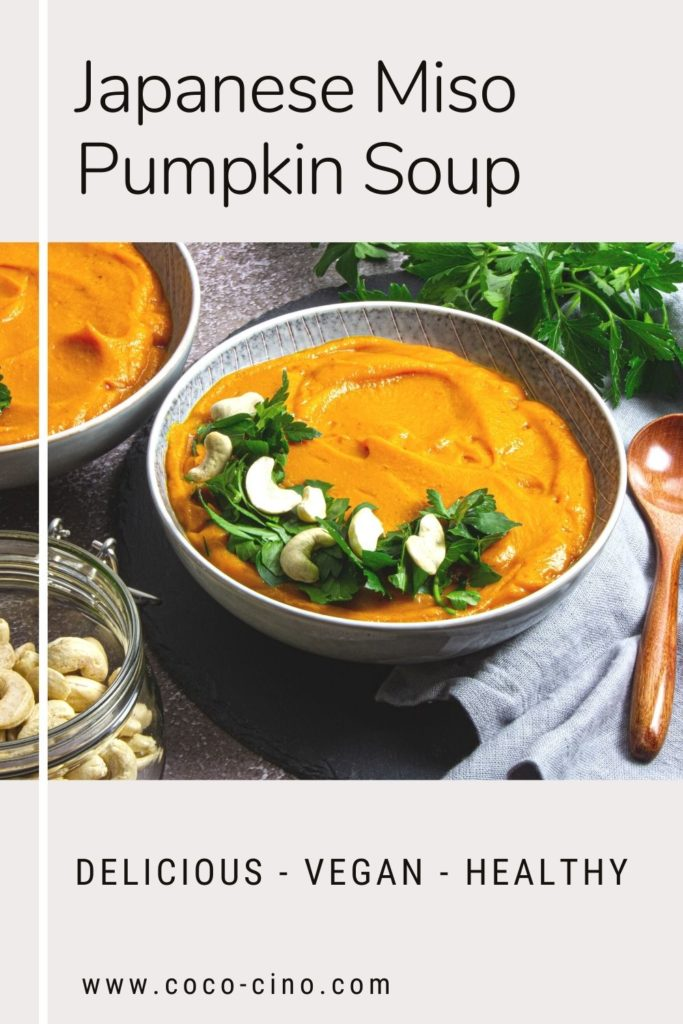 Japanese-Miso-Pumpkin-Soup_Soup bowls with wooden spoon, cashews and coriander