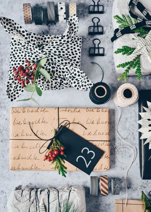 Christmas Gift Wraps_fabric wrapping in white with black dots and other presents