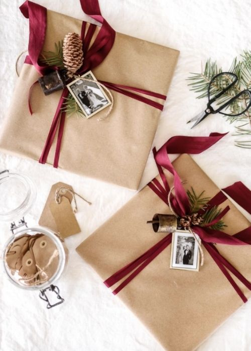 natural christmas packaging with red rope and photos