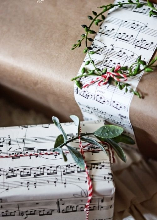 Christmas Gift Wraps_natural packaging with music sheet pieces