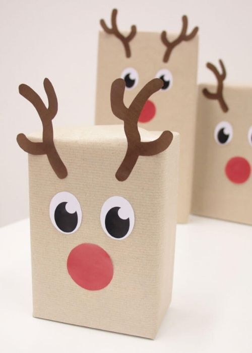 Christmas Gift Wraps_natural packaging with reindeer face