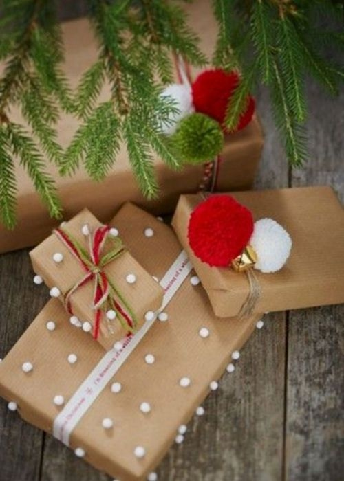 Christmas Gift Wraps_natural packaging with white dots and red bow