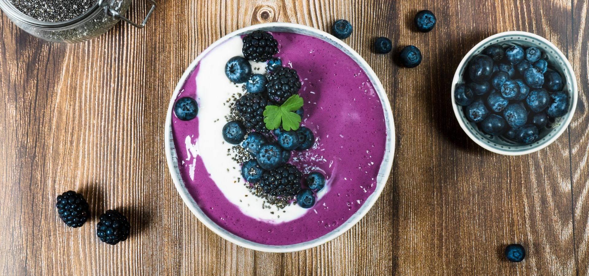 Violet Chia Smoothie Bowl with blueberries and coconut yoghurt