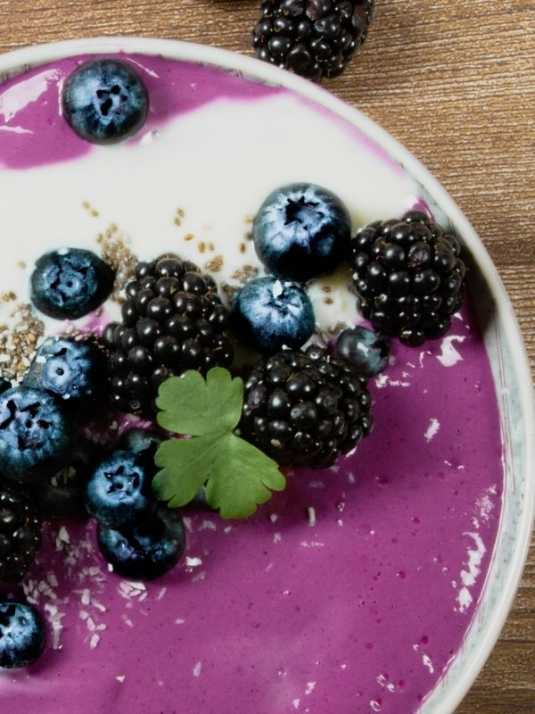 Violet Chia Smoothie Bowl with blueberries, blackberries and coconut yoghurt