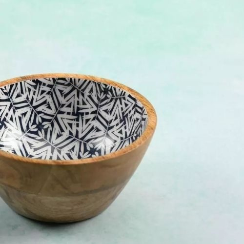 Beautiful Bowl Sets for Your Healthy Breakfasts_Bowl Set_Mango Wood_pattern_black_white