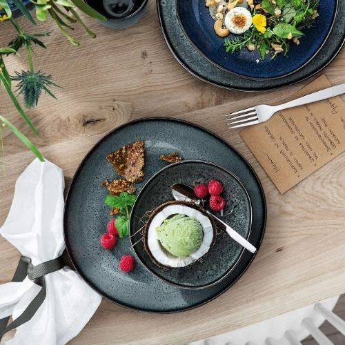 Beautiful Bowl Sets for Your Healthy Breakfasts_Bowl Set_Porcelaine_rustic_round_black_green