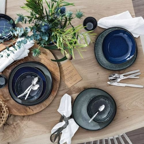 Beautiful Bowl Sets for Your Healthy Breakfasts_Bowl Set_Porcelaine_rustic_round_black_green_blue
